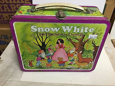 Snow White Disney green rare metal lunch box 1970s