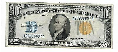1934-A Ten Dollar $1O Silver Certificate North Africa Wwii  Vf Fr.2309