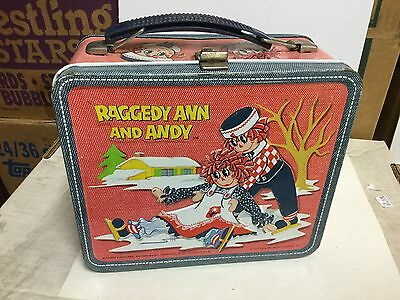 Raggedy Ann and Andy rare metal lunch box w/ thermos 1970s