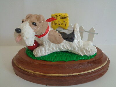 """Hand Sculpted**wire Fox Terrier """"on Duty"""" Picket Fence On Wood Plaque Figurine**"""