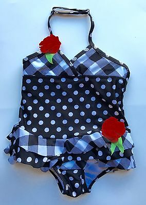 Absorba Girls Size 4 4T Swimsuit Bathing Suit Polka Dots Black And White