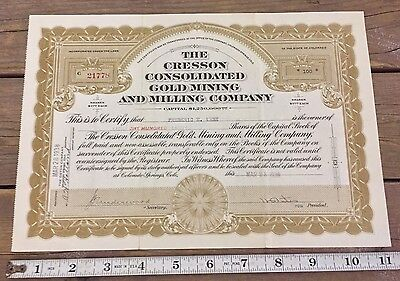 The Cresson Consolidated Gold Mining And Milling Company Stock Colorado 1938