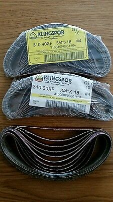 "Klingspor sanding belts 3/4""x 18"" lot of 30, 20 60 grit and 10 40 grit"