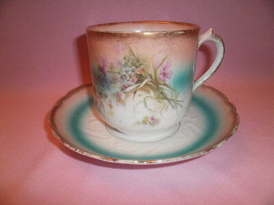 Vintage / Antique Hand Painted Mustache Cup and Saucer
