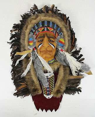 Native American Folk Art Feather Faux Fur Chief's Head Dress Plaque Wall Hanging