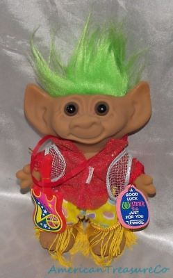 "Vintage 90s Uneeda Wishnik Troll Doll 8"" Wild Rock Star w/Guitar Lime Green Hair"