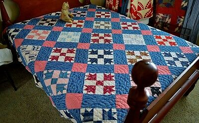 Antique 19th century Hand Stitched Bear Paw Quilt *