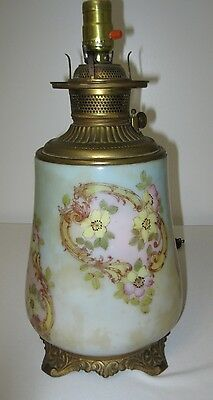 Antique c.1880's Ex-Large GWTW Glass, Brass and Cast Iron Oil Lamp Base -Florals