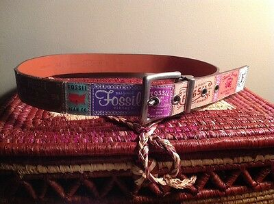 Fossil Ribbon Patchwork Label Leather Belt, Size M, Silver Buckle