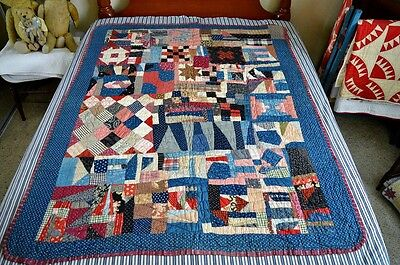 Antique Hand Stitched 19th C Crazy Work Sampler Crib / Youth Quilt *