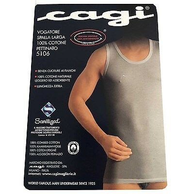CAGI rower wide shoulder man blue mod 5106 100% cotone