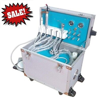 Dental 4-Hole Portable Delivery Unit Rolling Case+Ultrasonic Scaler+Curing Light