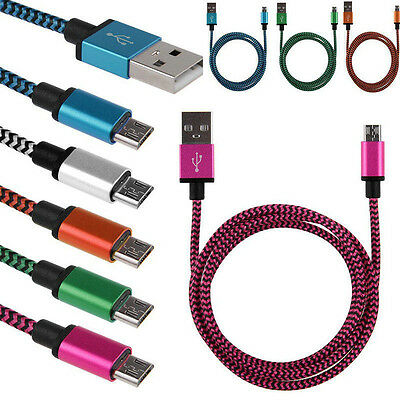 10Ft Braided Aluminum Micro USB Data&Sync Charger Cable Cord For Android Phones