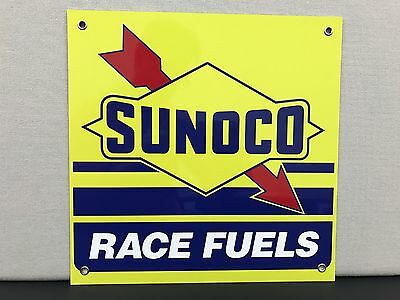 Sunoco race fuels oil gasoline vintage reproduction advertising sign garage