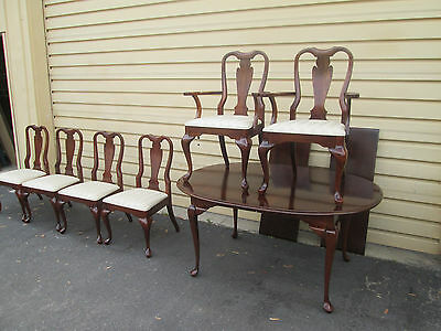 "56941-T9 CRESENT Queen Anne Cherry Dining Table w 6 Chairs 2 Leafs Top 90"" x 44"""