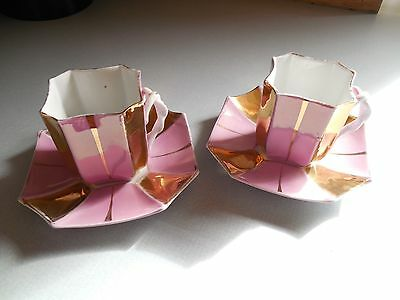 Demitasse Tea Cups With Saucers, Hand Painted Porcelain - Pink And Gold Design