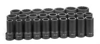 GREY PNEUMATIC CORP. 3/4Inch Drive 12 Point 26 Piece Deep Metric Master Set GY81