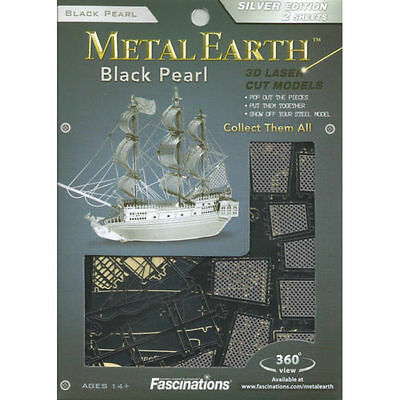 Metal Earth 3D Metal Model Kit BLACK PEARL Silver Edition ~ KNOCKOUT CRAFTS