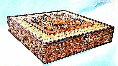 ANTIQUE 19c FRENCH WOOD CARVED W/CARVED MEDALLION ON TOP BOX FOR MUSIC PAPER