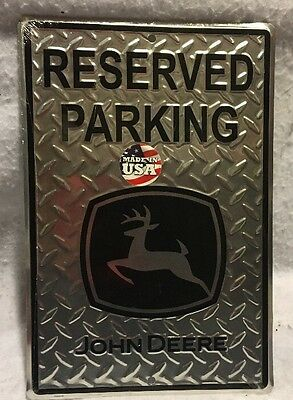 John Deere Diamond Plate Reserved Parking  Sign With FREE SHIPPING!