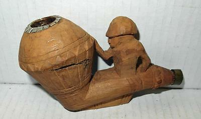 Vintage Unusual Hand Carved Wooden Smoking Pipe Bowl