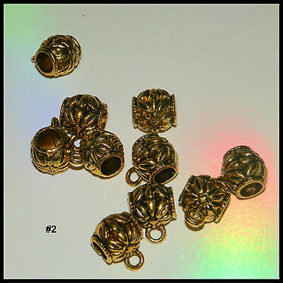 10 European Gold Barrel Bail Beads Spacers Connectors For Charms #2