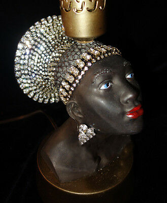 1 Vintage Jeweled crystal African Queen lady Lamp Spelter Brass Hollywood waterf