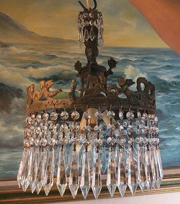 Antique Bronze Chandelier French Lamp Cherub Brass Crystal Prisms Vintage