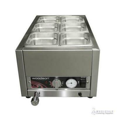 Benchtop Bain Marie 1/1 GN Size Woodson W.BMS11 Warmer with 6x 1/6 100mm Pans