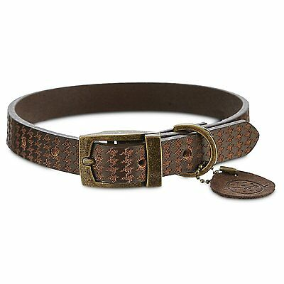 Bond & Co. Brown Leather Collar, For Neck Sizes 18-21, Large/Extra Large