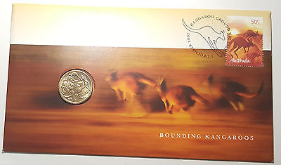 Australia 2007  Bounding Kangaroos with $1 Coin PNC FDC Cover