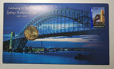 Australia 2007 75 Years Sydney Harbour Bridge $1 Coin PNC FDC Cover