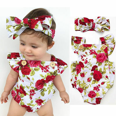 Newborn Baby Girl Rose Floral Jumpsuit Romper Bodysuit +Headband Outfits Set New