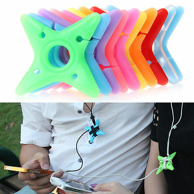 10Pcs Soft Cute Colorful Silicone Dart Star Earphone Cable Winders Wire Holders