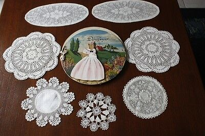 7x VINTAGE CREAM LINEN & CROCHETED DOILIES plus Vintage Doily Holder #182