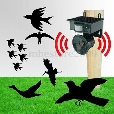 Ultrasonic PIR Outdoor Solar Animal Bird Cat Dog Fox Repeller Repellent Scarer