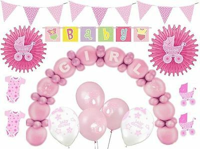 Pink Baby Shower Decorations Girls Party Supplies Balloons Confetti Banner