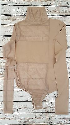 New Bones High Neck Long Sleeve Body With Mesh Inserts in Nude Sz S 8/10 uk