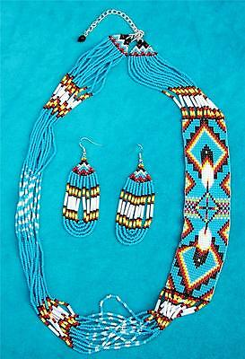 """""""eagle Feathers"""" Native American Beaded Jewelry Set"""