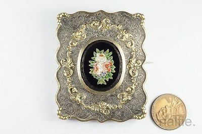ANTIQUE ITALIAN FINELY CRAFTED FLORAL MICRO MOSAIC SILVER & GOLD BROOCH c1860