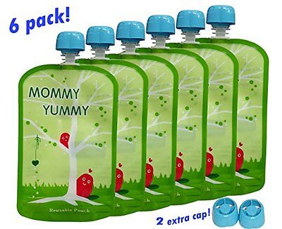 MommyYummy Reusable Food Pouch 6 Pack - 4.4 Inch. 5oz - Heavy Double Zipper