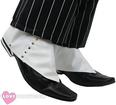 Gangster Spats White 1920's Shoe Covers Al Capone Fancy Dress Costume Accessory