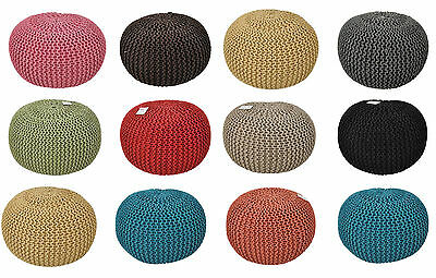 Large 60Cm Chunky Knit Knitted Pouffe Foot Stool Cushion Moroccan Pouf Ikat Pouf