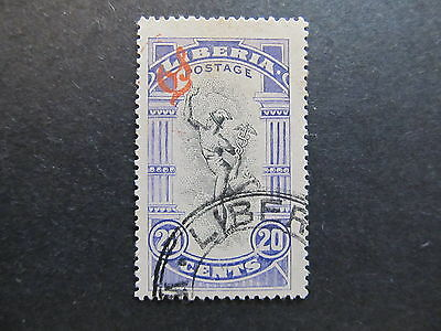 A4P25 Liberia Official Stamp 1918 optd 20c used #15
