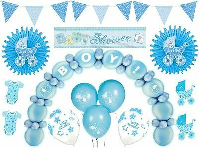 Blue Baby Shower Decorations Boys Party Supplies Balloons Confetti Banner
