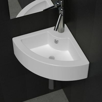 Corner Hand Wash Bathroom Basin Above Counter Wall Sink Bowl w/ Overflow White