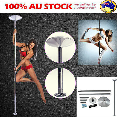 Dance Pole 45mm Portable Static Spinning Gym YOGO Exercise W/ 2 Extension Kit AU