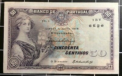 Portugal 50 Centavos 1918 Bank Note Almost Uncirculated Rare No Reserve