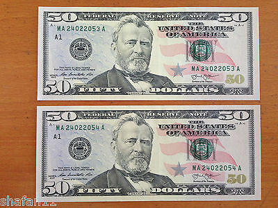 $50 FIFTY Dollar TWO CONSECUTIVE Numbers Bills Uncirculated 2013 Crisp New Mint