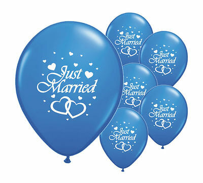"10 Just Married Dark Blue 12"" Helium Quality Pearlised Wedding Balloons (Pa)"